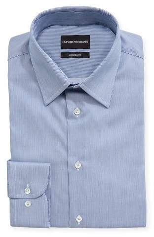 Emporio Armani Modern Fit Fine Stripe Barrel-Cuff Dress Shirt