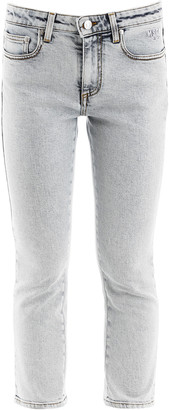 MSGM Cropped Jeans With Logo On Back