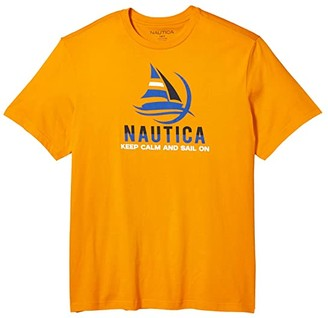 Nautica Big Tall Keep Calm Graphic Tee (Orange) Men's Clothing