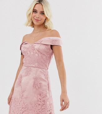 Chi Chi London bardot jacquard lace mini dress in pink