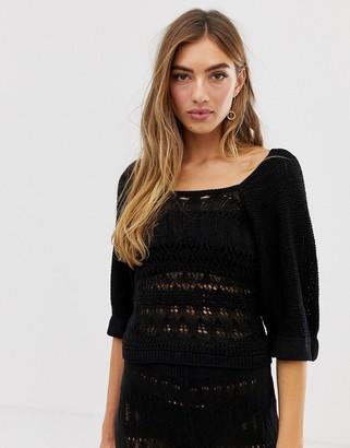 ASOS DESIGN co-ord crochet puff sleeve top