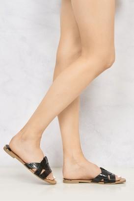 Miss Diva Cannes Snake Skin Detail Open Toe Low Heel Mules in Black Croc