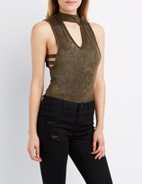 Charlotte Russe Studded Faux Suede Caged Top