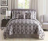"Chezmoi Collection Aurora by 7-piece Jacquard Diamond Silver Grey Charcoal Bedding Comforter Set (Queen, 90"" x 92"")"