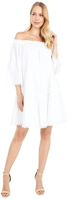 Vineyard Vines Lurex Dobby Off-the-Shoulder Dress (White Cap) Women's Clothing