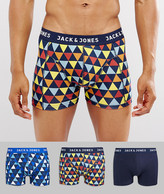 Jack & Jones Trunks 3 Pack With Graphic Print