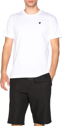 Comme des Garcons Small Black Emblem Cotton Tee in White | FWRD
