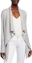 Neiman Marcus Super Fine Lattice Stripe Draped Silk/Cashmere Cardigan