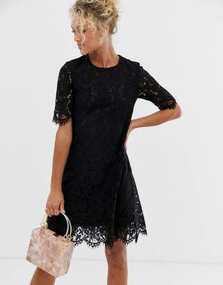 Glamorous midi dress with lace overlay-Black
