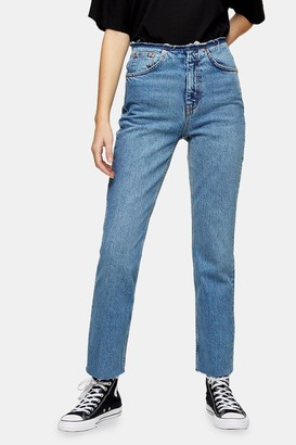 Topshop Mid Blue Raw Waistband Straight Jeans