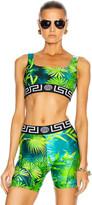 Versace Palm Sports Bra Top in Green | FWRD