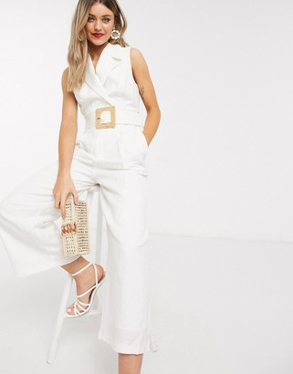 Ever New belted tailored jumpsuit in white