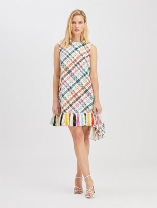 Oscar de la Renta Raffia-Embroidered Tweed Dress