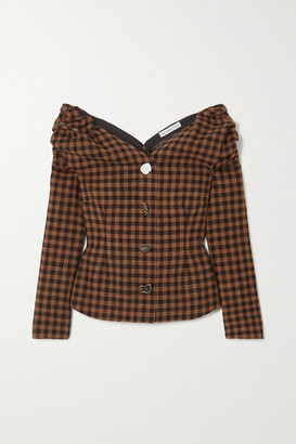 REJINA PYO Miriam Off-the-shoulder Button-embellished Checked Wool And Cotton-blend Blouse - Brown
