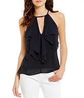 Soulmates Solid Ruffled-Front Tank Top
