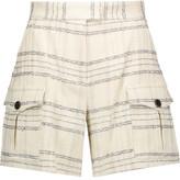 MSGM Metallic Checked Bouclé-Tweed Shorts