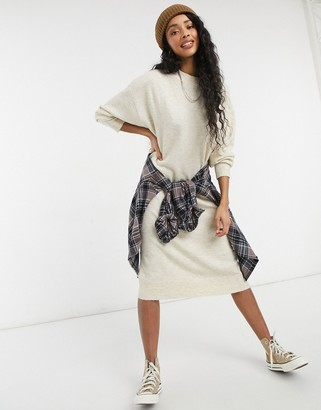 Monki Felia recycled polyester jumper dress in beige