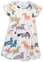 Urban Smalls Cream & Pastel Unicorns Sublimated Swing Dress - Toddler & Girls