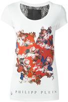Philipp Plein floral heart print T-shirt