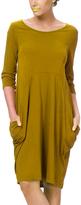 Mustard Pocket Three-Quarter Sleeve Shift Dress