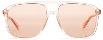 Gucci Aviator Square Acetate Sunglasses - Mens - Pink