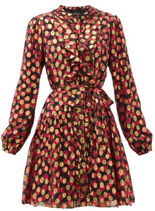 Saloni Tilly Floral-print Polka-dot Jacquard Dress - Womens - Black Red