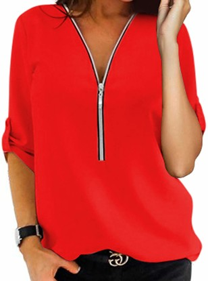 Sexy Dance Women V Neck T Shirts Long Sleeve Tops Casual Zipper Blouse Tunic 3XL Pink