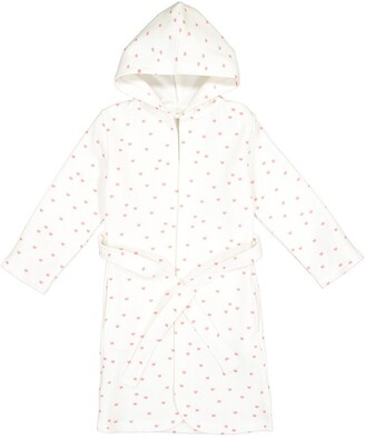 La Redoute Collections Cat Print Cotton Bathrobe with Hood, 3-12 Years