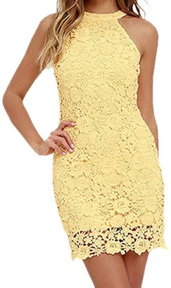 Chnli Women Halter Lace Sleeveless Mini Dress Round Neck Backless Wedding Party Cocktail Dress Pencil Bodycon Yellow