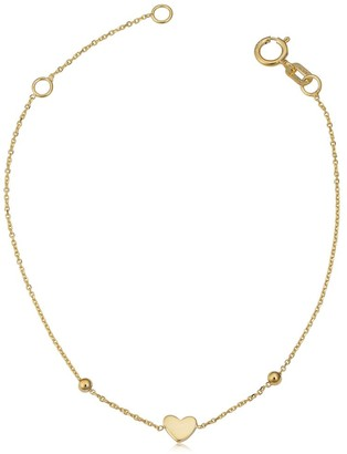 Fremada Italian 14k yellow gold heart and bead children's bracelet