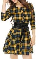 Allegra K Women's Plaids Long Sleeves Belted A Line Shirt Dress S Black