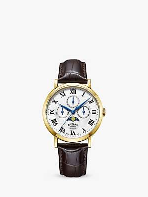 Rotary GS05328/01 Men's Windsor Day Date Month Moonphase Leather Strap Watch, Dark Brown/White