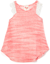 Coral & White Lace Angel-Sleeve Tee - Girls