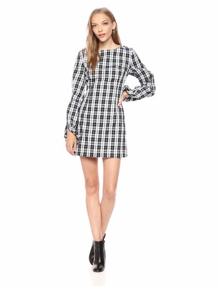 Finders Keepers findersKEEPERS Women's Downtown Plaid Balloon Sleeve Mini Dress
