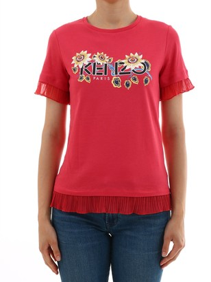 Kenzo Floral Logo Frill Trimmed T-Shirt