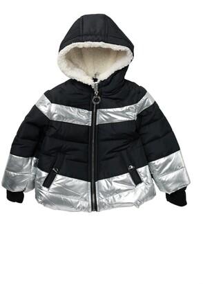 DKNY Metallic Faux Fur Puffer Jacket