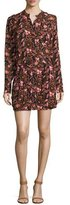 A.L.C. Sacha Long-Sleeve Floral Silk Dress, Henna/Black/Pink