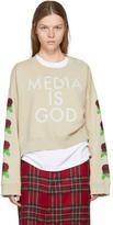 Undercover Beige Cropped Media is God Sweatshirt