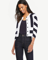 Ann Taylor Mixed Stripe Sweater Jacket
