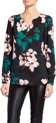 Joan Vass Shirred Floral-Print Blouse