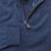 Charles Tyrwhitt Indigo cotton cashmere zip neck jumper