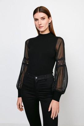 Karen Millen Sheer Sleeve Lace Knitted Top