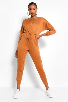 boohoo Wrap Over Loopback Sweat Jumpsuit
