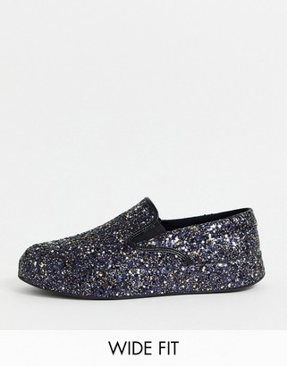 ASOS DESIGN Wide Fit slip on trainers in all over glitter