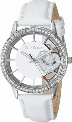 Juicy Couture Black Label Women's Swarovski Crystal Accented White Leather Strap Watch
