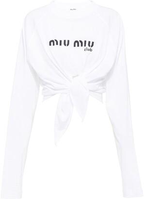 Miu Miu logo print knotted crop T-shirt