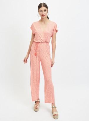 Miss Selfridge Orange Printed Jersey Jumpsuit