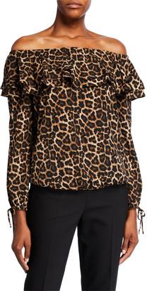 MICHAEL Michael Kors Leopard Off-the-Shoulder Ruffle Peasant Top