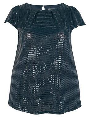 Dorothy Perkins Womens **Billie & Blossom Curve Black Sequin Shell Top, Black