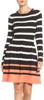 Eliza J Stripe Fit & Flare Sweater Dress (Regular & Petite)